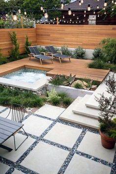 Inspirational easy back garden ideas you'll love Hot Tub Deck, Hot Tub Backyard, Small Backyard Landscaping, Landscaping Ideas, Backyard Pavers, Concrete Patio, Pergola Patio, Backyard Kitchen, Narrow Backyard Ideas