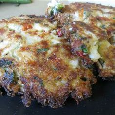 Lori's Famous Crab Cakes Allrecipes.com  These are great!! I used gluten free bread crumbs and reduced the amount; a little cheat there...also have used mushrooms with smaller amounts of bell peppers and oh! it's so good!