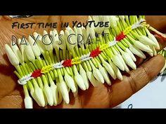 New modulation in Pinnall Jadai method Flower Rangoli, Flower Garlands, Flower Decorations, Leaf Flowers, Simple Flowers, Diy Flowers, How To Make Garland, Diy Garland, Garland Making