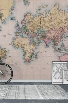 Detailed world map wall mural wall murals living rooms and walls vintage world map wall mural wallpaper gumiabroncs Gallery