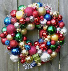 Christmas Ball Door Wreath - On mirror in LR Etsy Wreaths, Wreaths And Garlands, Door Wreaths, Christmas Balls, Christmas Holidays, Christmas Decorations, Holiday Decor, Christmas Trees, Ornament Wreath
