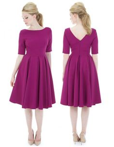 Our Hepburn Swing Dress is back! Created in a stretch luxury crepe, it's the perfect addition to your Pretty Dress Company collection #fashion #style #elegant #chic #retro #vintage #50s #1950s #berry #purple #newin #AW15 #theprettydress #theprettydresscompany