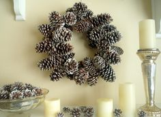 Crafty Sisters: Glittered Pinecone Wreath.  I know it's simple, but we don't have pine cones in San Antonio and I miss them.