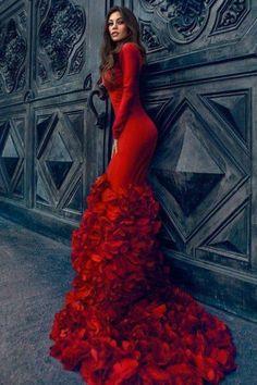 Red Elegant Dresses, Pretty Dresses, Awesome Dresses, Casual Dresses, Mermaid Prom Dresses, Dress Prom, Nye Dress, Dress Summer, Formal Dress