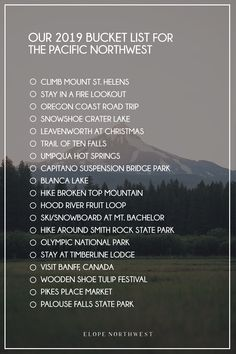 2019 Pacific Northwest Bucket List Hood River Fruit Loop, Umpqua Hot Springs, Hiking Spots, Oregon Coast, Ultimate Travel, Adventure Is Out There, Pacific Northwest, North West, Places To Travel