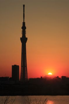 Tokyo Skytree and sunset on Mt.Fuji