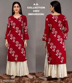 Checkout this latest Kurta Sets Product Name: *Women Rayon Straight Printed Long Kurti With Palazzos* Kurta Fabric: Rayon Bottomwear Fabric: Rayon Fabric: Rayon Set Type: Kurta With Bottomwear Bottom Type: Palazzos Pattern: Printed Multipack: Single Sizes: M (Bust Size: 38 in, Kurta Length Size: 44 in, Bottom Waist Size: 28 in, Bottom Length Size: 37 in)  L (Bust Size: 40 in, Kurta Length Size: 44 in, Bottom Waist Size: 30 in, Bottom Length Size: 37 in)  XL (Bust Size: 42 in, Kurta Length Size: 44 in, Bottom Waist Size: 32 in, Bottom Length Size: 37 in)  XXL (Bust Size: 44 in, Kurta Length Size: 44 in, Bottom Waist Size: 34 in, Bottom Length Size: 37 in)  Easy Returns Available In Case Of Any Issue   Catalog Rating: ★4 (303)  Catalog Name: Women Rayon Straight Printed Long Kurti With Palazzos CatalogID_1846096 C74-SC1003 Code: 316-10203414-1161