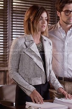 Aria's black romper and white textured print jacket on Pretty Little Liars.  Outfit Details: https://wornontv.net/55621/ #PLL