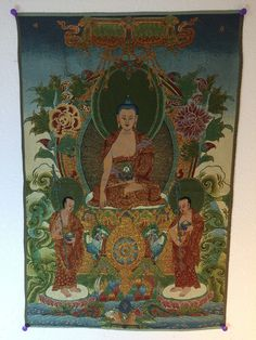 Buy Tibetan art thangka Buddha Shakyamuni with Two Chief Disciples. Decorate your yoga studio, office or home with it and get inspired by its positive energy.