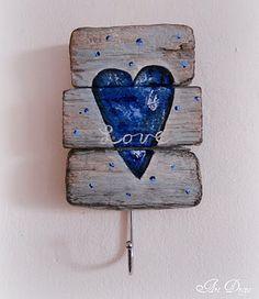 Blue Heart by art drops I Love Heart, Happy Heart, Deco Nature, Arte Country, Driftwood Crafts, Driftwood Ideas, Love Dream, Pallet Art, Wooden Hearts