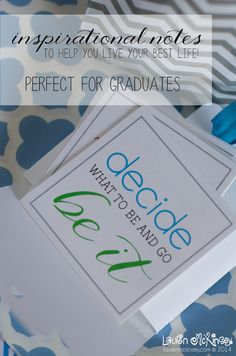 Be inspired :: set of 12 inspirational notes to help YOU live your best life. Perfect for the graduate in your life!