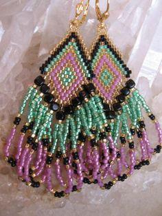 Seed Bead Beadwoven Earrings  Green/Rose/Black by pattimacs, $20.00
