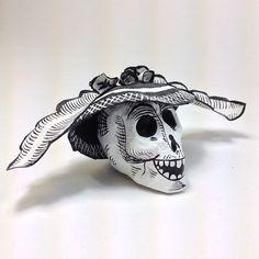 catrina skull made of paper mache