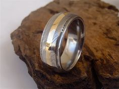 Damascus Steel Domed 8mm Grooved Edge Men's Band with 2mm 14K Gold Inlay and Polish Finish by SednLizBiz on Etsy