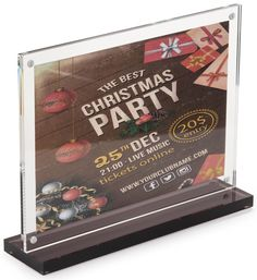 "7"" x 5"" Tabletop Acrylic Sign Holder, Magnetic Closure, Smoke Base – Clear"