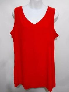 TravelSmith Red Sleeveless Tank Top Pullover Womens L Slimmer Lining  #TravelSmith #TankCami #Casual