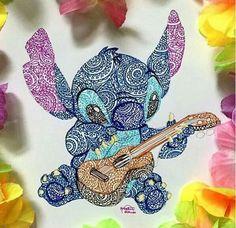 2017 trend Disney Tattoo - Stitch (Drawing by Kristina_Illustrations ? Disney Kunst, Arte Disney, Disney Art Diy, Disney Drawings, Cute Drawings, Pencil Drawings, Flower Drawings, Drawing Disney, Dibujos Zentangle Art
