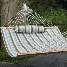 Prime Garden Tree Hammock Color: Tan/Light Blue Stripes
