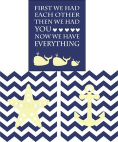 "Planning for the ""nephew""!  Navy Blue and Light Yellow Nautical Whale Nursery by LJBrodock, $25.00"