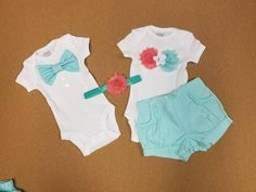 Check out this item in my Etsy shop https://www.etsy.com/listing/544853455/4-pieces-size-0-3-months-mint-and-coral