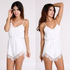 2014 Hot Women's Fashion Designer Casual White Chiffon Lace Jumpsuit