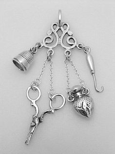 Sterling Silver Sewing Tools Worn around the Neck called a Chatelaine (Or on a broach) I`d love to make one for my small weaving and/or tapestry stuff.