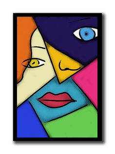 Pop Art Cubism Poster Pop Art- Easy to replicate pop art. For low budget DIY wall art, buy a large canvas from your local craft store and recreate your favorite painting or poster using acrylic or oil paints. I recommend acrylic because it dries faster! Easy Abstract Art, Abstract Face Art, Pop Art, Art Picasso, Easy Art Lessons, Scratchboard Art, Protest Posters, Cubism Art, Beginner Painting