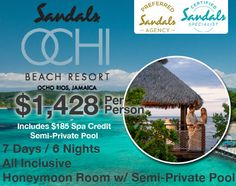 Sandals Honeymoon Deal in Ocho Rios Jamaica only $1,428 per person All Inclusive Luxury Resort!