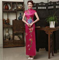 Pink Silk Floral Embroidery Full Length Traditional Cheongsam Qipao Dress - iDreamMart.com