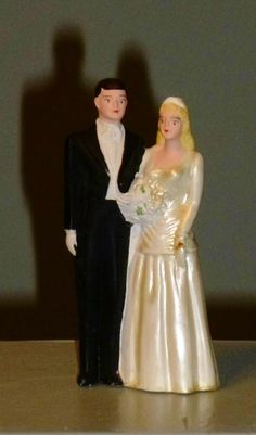 Bride Groom 1948 Chalk Ware Wedding Cake Topper From Our Collection Marriage Certificate