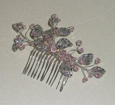 Wedding Hair Comb Silver Leaves Swarovski Blush Pink Crystal