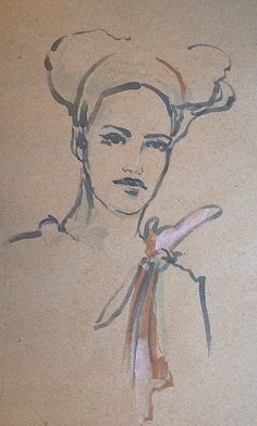 female face - drawing