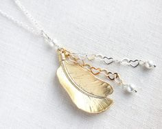 Fine Feather Silver and Gold Necklace, Mixed Metal Necklace, Wire wrapped Wedding Jewelry, Heart Chain, White Pearl