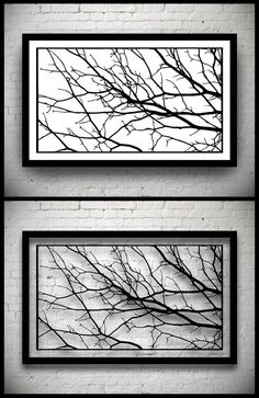 FRAMED Tree Branches Handmade Original Papercut: Hand Cut Paper Art  Silhouette   X Inches X 32 Cm)