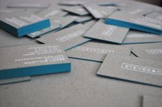 Steves & Co. Business Cards  Hand-made on recycled card boards, cool concept.