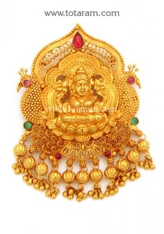 22K Gold 'Lakshmi' Pendant (Temple Jewellery): Totaram Jewelers: Buy Indian Gold jewelry & 18K Diamond jewelry