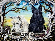 Scottish Terrier Print  Highland Scotties and Wee Frog Dog Art by Cherry O'Neill