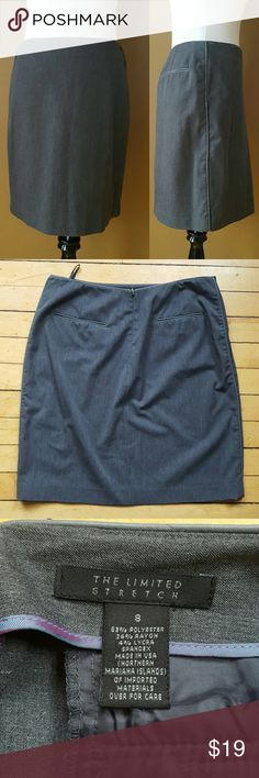 """Gray Pencil Skirt Perfect skirt for work or a night out out. Features two back pockets, measures 22"""" long. The Limited Skirts Pencil"""