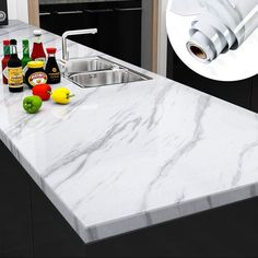 Yenhome Large Size Jazz White Marble Countertops Removable Wallpaper for Kitchen Backsplash Peel and Stick Shelf Liner Waterproof Bathroom Decor Wallpaper Stick and Peel 24 Bathroom Wall Stickers, Bathroom Wall Decor, Room Decor, Kitchen Cupboards, Kitchen Backsplash, Bathroom Splashback, Marble Vinyl, New Countertops, Marble Kitchen Countertops