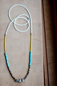 Long beaded boho layer necklace, tribal bead necklace, seed beads