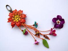 Joyería, flores, cuero, cuero colgante de flores