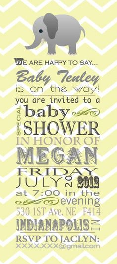 Elephant Chevron Baby Shower Invite.