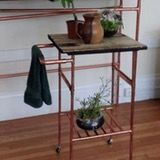 Copper + Reclaimed Wood Table and Cart