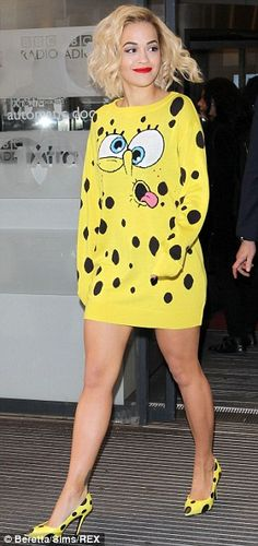 Child's play: The singer wore the dress inspired by SpongeBob SquarePants and matching heels