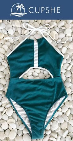 The LOVE and heat of beach would never be decreased! Get more attention in our cute and adorable swimwear! Charming peacock blue and chic design! LET'S go to the beach with Cupshe Pandora's Box Halter One-piece Swimsuit~