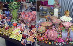 Mesas e mais mesas de doces foram espalhadas pelo salão. Durante a festa os convidados puderam se deliciar com balas, chocolates, pirulitos, maçãs do amor, chicletes… Todas as guloseimas que você puder imaginar. A galera se esbaldou!