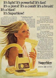 It's Superblow! 1975 Retro Advertising, Retro Ads, Vintage Advertisements, Vintage Ads, Vintage Images, Vintage Prints, Vintage Stuff, Vintage Makeup, Vintage Beauty