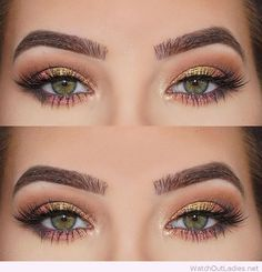 Amazing gold and brown eye make-up with gitter
