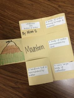 Geographical Features Foldable FREEBIE!! Includes landforms and bodies of water!  mountains, islands, rivers, lakes, and oceans! Make it your own!