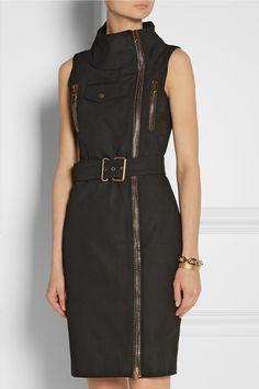 Alexander McQueen|Zip-detailed cotton-canvas dress|NET-A-PORTER